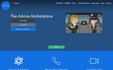 Screenshot of Home Page inzite.io - Inzite - The Advice Marketplace - captured Nov. 27, 2018