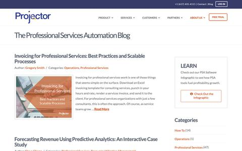 Screenshot of Blog projectorpsa.com - The Professional Services Automation (PSA) Software Blog - captured April 24, 2019