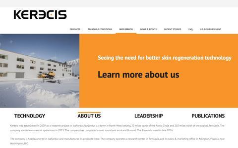 Screenshot of About Page kerecis.com - About Us · Kerecis - captured Nov. 4, 2018