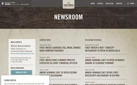 Screenshot of Press Page firstwatch.com - Media & News - First Watch - captured Nov. 9, 2018