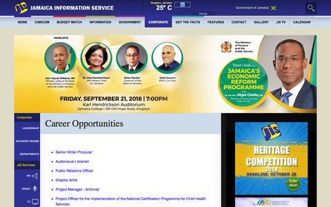 Screenshot of Jobs Page jis.gov.jm - Career Opportunities - Jamaica Information Service - captured Sept. 22, 2018