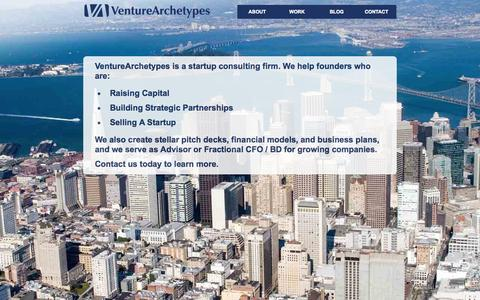 Screenshot of Home Page venturearchetypes.com - Startup CFO & Consultant | Pitch Deck | Financial Model | Business Plan | VC | BD | M&A - captured Oct. 7, 2014