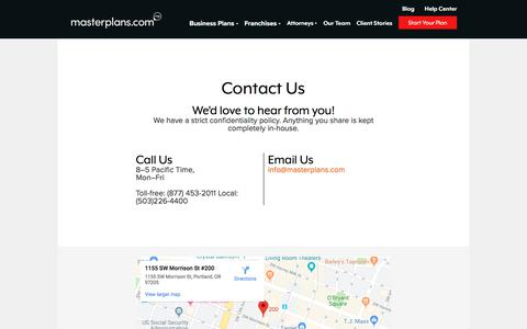 Screenshot of Contact Page masterplans.com - Masterplans - captured Oct. 5, 2019