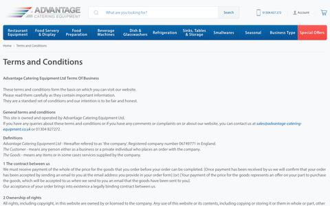 Screenshot of Terms Page advantage-catering-equipment.co.uk - Terms and Conditions - Advantage Catering Equipment - captured July 29, 2018