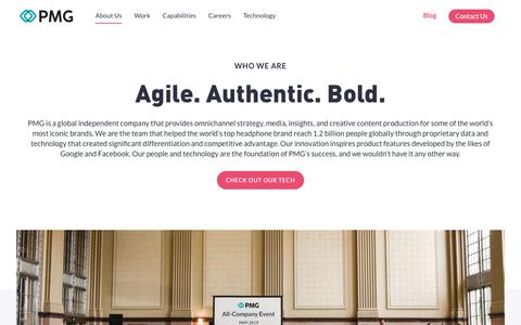 Screenshot of About Page pmg.com - About Us - PMG - Digital Agency - captured June 19, 2019