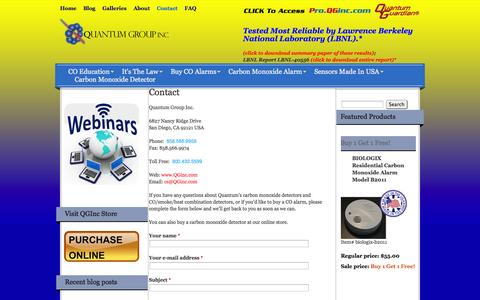 Screenshot of Contact Page qginc.com - Contact | Quantum Group Inc. - captured Oct. 3, 2014