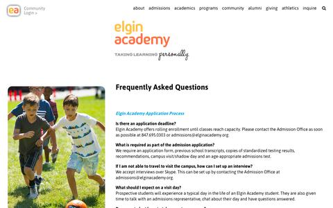 Screenshot of FAQ Page elginacademy.org - Elgin Academy FAQs - Frequently Asked Questions - captured Sept. 27, 2018
