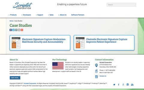 Screenshot of Case Studies Page scriptel.com - Case Studies - Scriptel.com - captured June 16, 2017