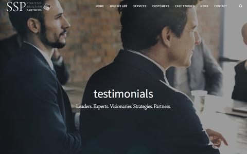 Screenshot of Testimonials Page strategicsolutionpartners.com - Testimonials | Strategic Solution Partners - captured Sept. 9, 2017