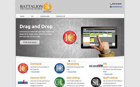 Screenshot of Home Page Menu Page batt3.com - Incident Command and Accountability Software - captured Oct. 5, 2014