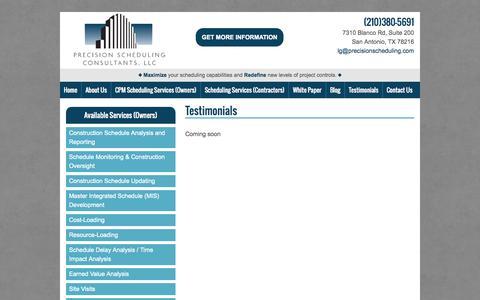 Screenshot of Testimonials Page precisionschedulingconsultants.com - Testimonials   Texas Construction Management   Precision Scheduling Consultants - captured Oct. 2, 2014