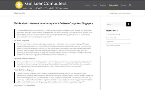 Screenshot of Testimonials Page gelissencomputers.com - Testimonials - Gelissen Computers - captured Oct. 2, 2014