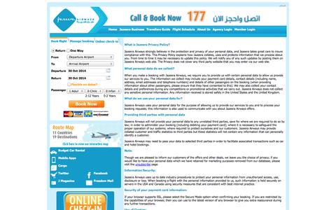 Screenshot of Privacy Page jazeeraairways.com - Privacy Policy - Jazeera Airways - captured Oct. 29, 2014