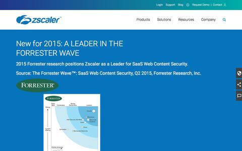 Forrester Wave 2015 - Web Content Security Leader   Zscaler