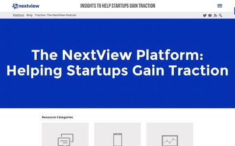 Screenshot of nextviewventures.com - The NextView Platform: Helping Startups Gain Initial Traction - captured March 20, 2016