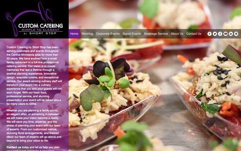Screenshot of Home Page shortstopcustomcatering.com - Home - Custom Catering - captured Oct. 3, 2014