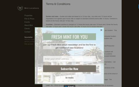 Screenshot of Terms Page mintlocations.com - Terms & Conditions | Mint Locations - captured Nov. 8, 2017