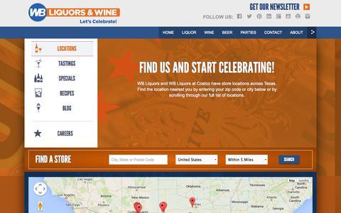 Screenshot of Locations Page wbliquors.com - WB Liquors - captured Sept. 30, 2014