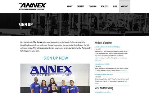 Screenshot of Signup Page annexsportsperformance.com - Sign Up   Annex - Sports Performance Center - captured Oct. 4, 2014