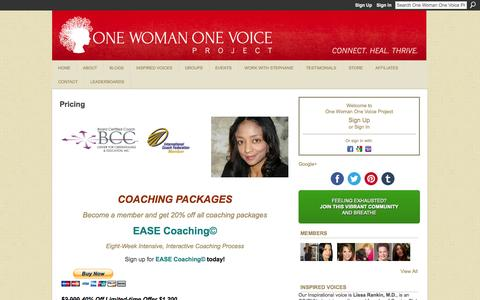 Screenshot of Pricing Page onewomanonevoiceproject.com - Pricing - One Woman One Voice Project - captured Oct. 9, 2014