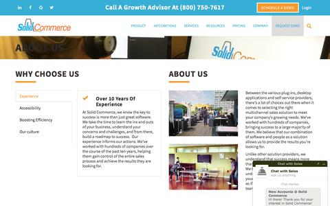 Screenshot of About Page solidcommerce.com - About Us | Solid Commerce - captured Sept. 5, 2017