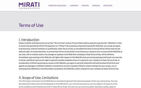 Screenshot of Terms Page mirati.com - Mirati Therapeutics - captured Oct. 18, 2017