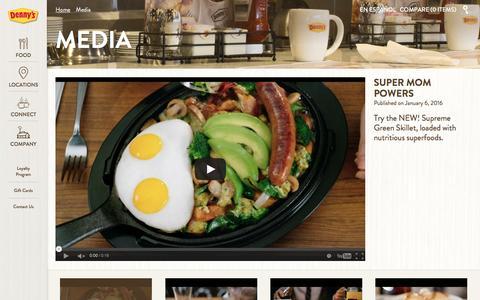 Screenshot of Press Page dennys.com - Media - Denny's - captured Jan. 7, 2016