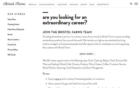Screenshot of Jobs Page bristolfarms.com - Are You Looking for an Extraordinary Career? | Bristol Farms - captured June 3, 2017