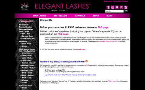 Screenshot of Contact Page elegantlashes.com - Elegant Lashes   Bulk False Eyelashes for Pro MUA, Dancers, & SalonsContact Us - captured Oct. 13, 2017
