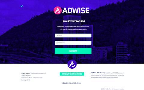 Screenshot of Login Page adwise.cl - Adwise Chile | Expertos en Marketing Digital y eCommerce - captured Dec. 7, 2018