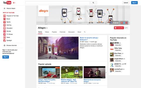 Screenshot of YouTube Page youtube.com - Allegro  - YouTube - captured Oct. 22, 2014