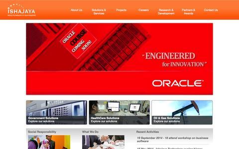 Screenshot of About Page ishajaya.com - Ishajaya Technology - Home - captured Oct. 6, 2014