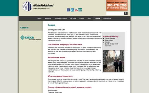Screenshot of Jobs Page altairstrickland.com - Industrial Engineering Company & FCCU :: AltairStrickland - captured July 29, 2018