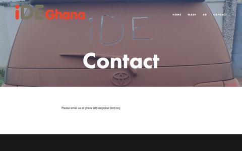 Screenshot of Contact Page ideghana.org - Contact — iDE Ghana - captured Aug. 7, 2016