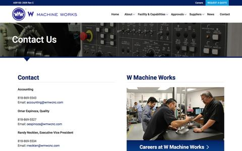 Screenshot of Contact Page wmwcnc.com - Contact Us | W Machine Works - captured Dec. 2, 2016