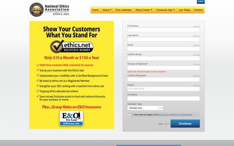 Screenshot of Signup Page ethics.net - Join Now - National Ethics Association - captured Dec. 1, 2016