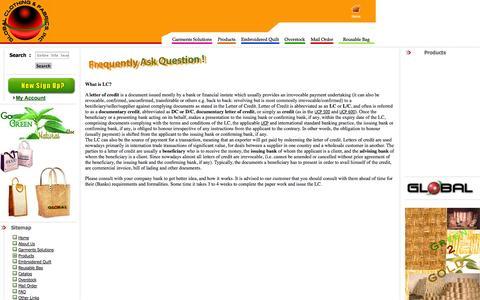 Screenshot of FAQ Page globalcnf.com - Garments Manufacturer: Global Clothing and Fabrics, Inc. - captured Oct. 3, 2014