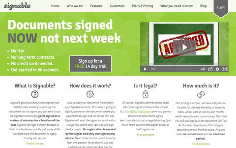 Screenshot of Home Page signable.co.uk - Online Contracts and Electronic Signatures | Signable - captured Sept. 6, 2016