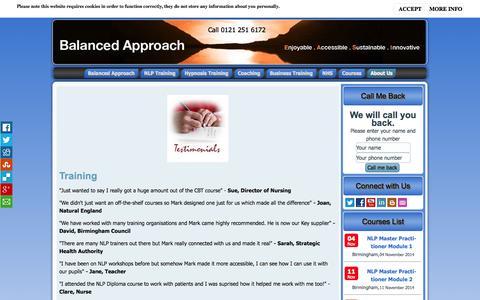 Screenshot of Testimonials Page balancedapproach.co.uk - Testimonials - captured Oct. 29, 2014