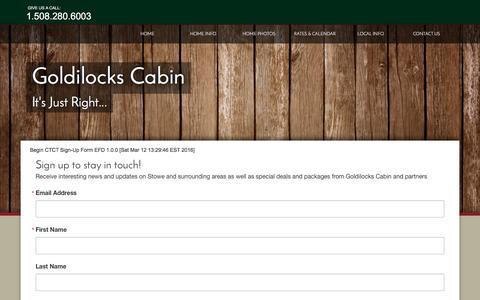 Screenshot of Signup Page cabinrentalvermont.com - signup - captured Sept. 30, 2016