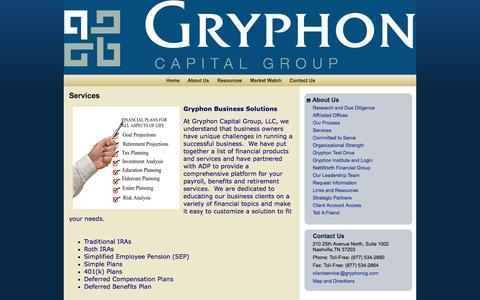 Screenshot of Services Page gryphoncg.com - Services : Gryphon Capital Group, LLC a member of the NettWorth Financial Group - captured Oct. 3, 2014