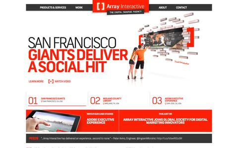 Screenshot of Home Page arrayinteractive.com - Array Interactive - The Digital Signage Agency - captured Sept. 30, 2014
