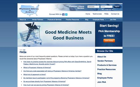 Screenshot of FAQ Page physall.com - Group Purchasing Frequently Asked Questions | Physicians' Alliance of America - captured Oct. 2, 2014