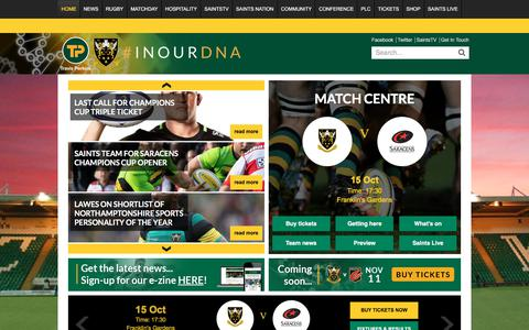 Screenshot of Home Page northamptonsaints.co.uk - Homepage - Northampton Saints - captured Oct. 14, 2017