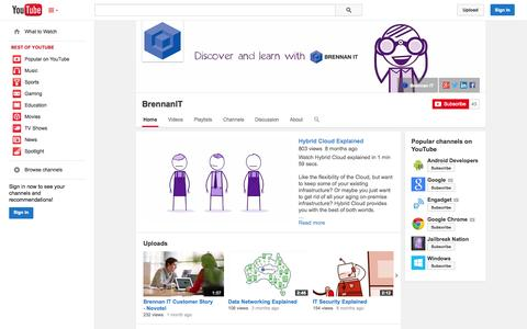 Screenshot of YouTube Page youtube.com - BrennanIT  - YouTube - captured Oct. 22, 2014