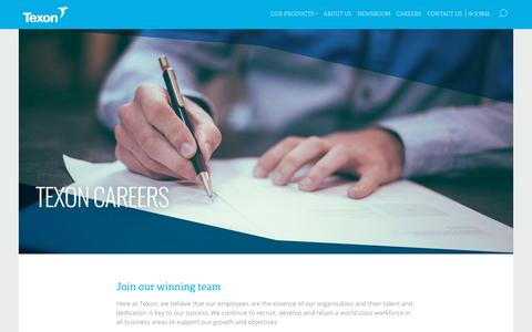 Screenshot of Jobs Page texon.com - Careers - Texon - captured Oct. 20, 2018