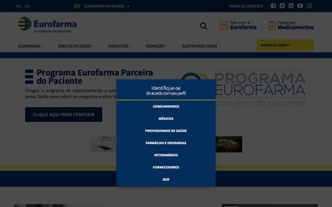 Screenshot of Home Page eurofarma.com.br - Eurofarma | Ampliando horizontes - captured July 22, 2018