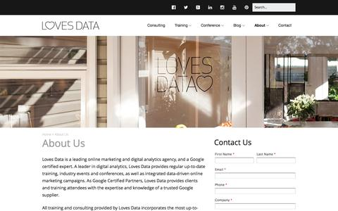 Screenshot of About Page lovesdata.com - About Loves Data | Online Marketing & Analytics Agency - captured Oct. 1, 2015