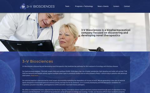 Screenshot of Home Page 3vbio.com - 3V-BIOSCIENCES - captured Oct. 9, 2014