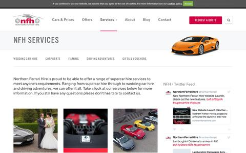 Screenshot of Services Page northernferrarihire.com - Services | Northern Ferrari Hire - captured June 14, 2017